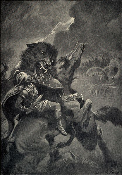 Odin locked in Combat with the Fenris Wolf
